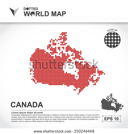 Map Of Canada Dotted Vector - stock vector