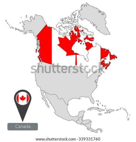 Map canada official flag location north stock vector 339331760 map of canada with an official flag location in north america gumiabroncs Gallery