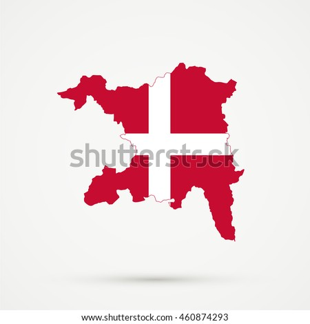 Map of canton (country subdivision) of Aargau, Switzerland in Denmark flag colors