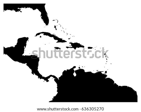 Map caribbean region central america black stock vector 636305270 map of caribbean region and central america black land silhouette and white water simple sciox Gallery