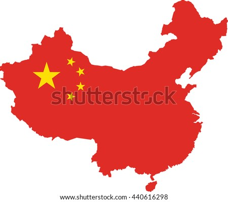 map of china filled with the flag of the state - stock vector