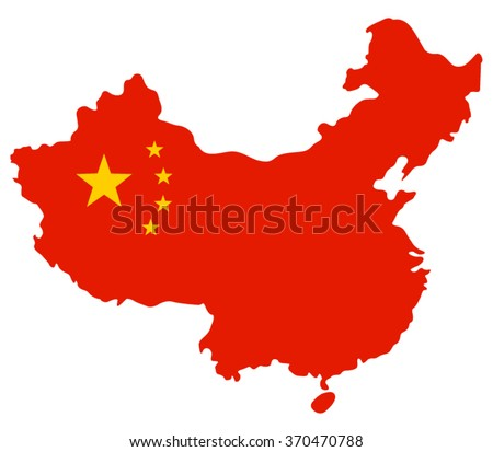 Map of china filled with the flag of the state, vector illustration. - stock vector
