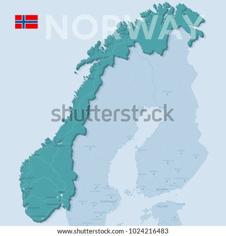 Map Cities Roads Norway Stock Vector Shutterstock - Map of cities in norway