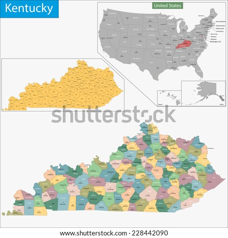 Map of Commonwealth of Kentucky designed in illustration with the counties and the county seats - stock vector