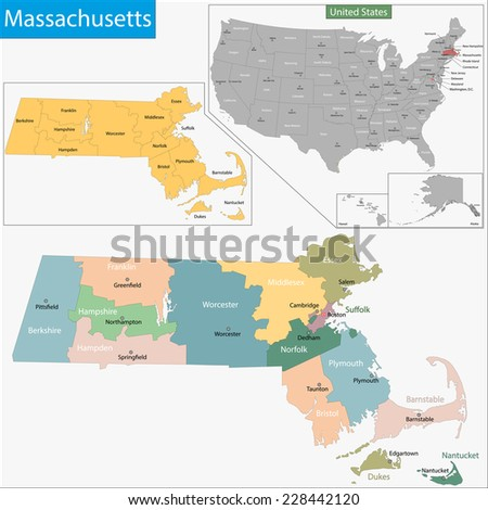 Map of Commonwealth of Massachusetts designed in illustration with the counties and the county seats - stock vector