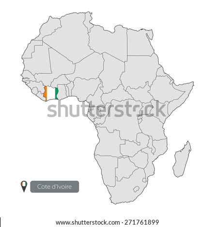 Map cote d ivoire official flag location stock vector 271761899 map of cote divoire with an official flag location on the continent of ccuart Images