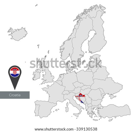 Map of Croatia with an official flag. Location in Europe - stock vector