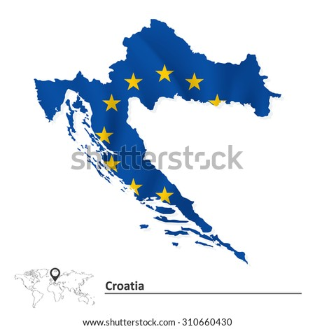 Map of Croatia with European Union flag - vector illustration - stock vector