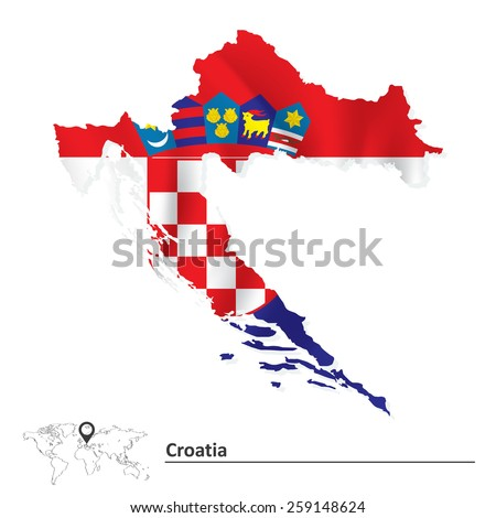 Map of Croatia with flag - vector illustration - stock vector