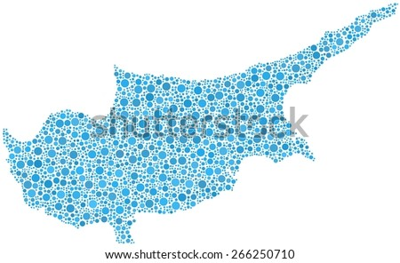 Map of Cyprus in a mosaic of blue bubbles - stock vector