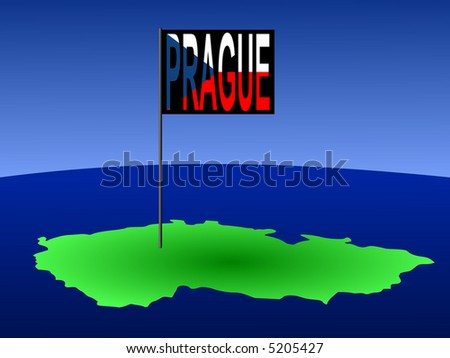 map of Czech Republic with position of Prague marked by flag pole illustration