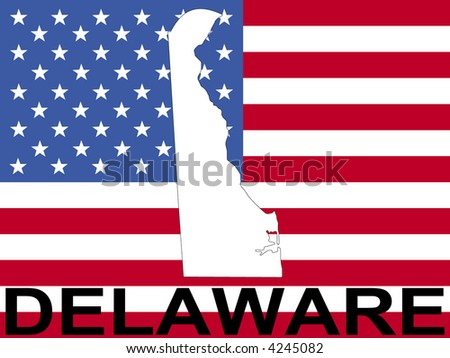 map of Delaware on American flag illustration