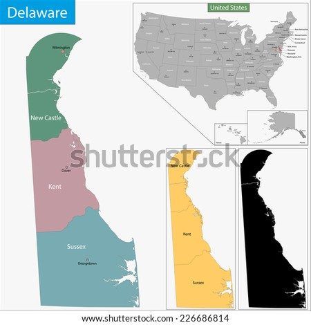 Map of Delaware state designed in illustration with the counties and the county seats - stock vector
