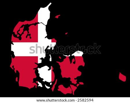 map of Denmark and Danish flag illustration - stock vector