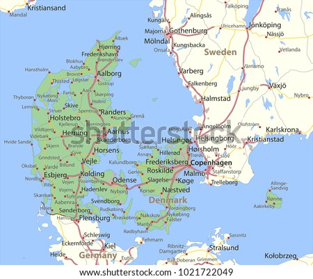 Map Denmark Shows Country Borders Urban Stock Photo Photo Vector