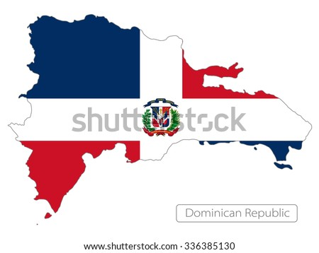 map of Dominican Republic with the flag. North America  - stock vector