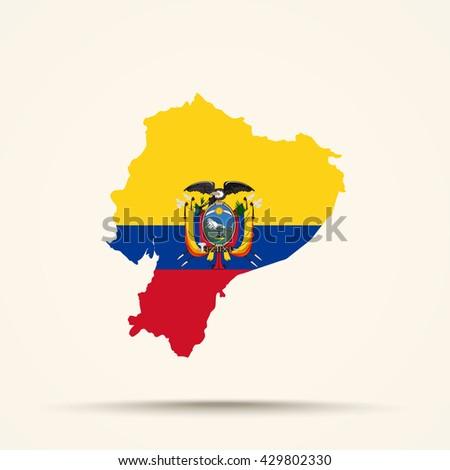 Map of Ecuador in Ecuador flag colors - stock vector