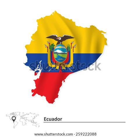 Map of Ecuador with flag - vector illustration - stock vector