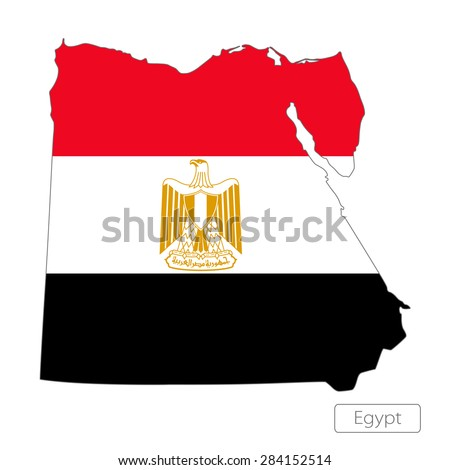 Map of Egypt with an official flag. Illustration on white background - stock vector