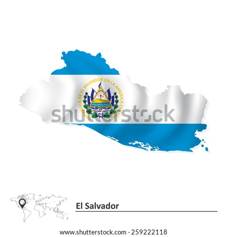 Map of El Salvador with flag - vector illustration - stock vector