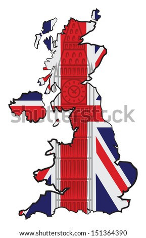 Map of England with flag and Big Ben - stock vector