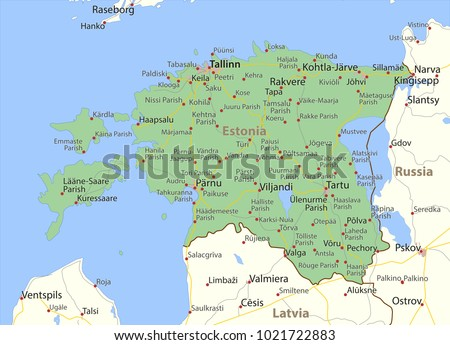 Map estonia shows country borders urban vector de stock1021722883 map of estonia shows country borders urban areas place names and roads gumiabroncs Gallery