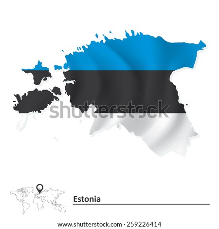Map of Estonia with flag - vector illustration - stock vector