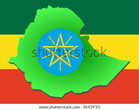 map of Ethiopia and their flag illustration
