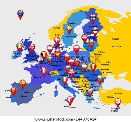 map of EU with 28 icons - stock vector