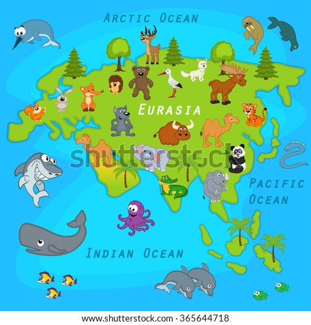 map of Eurasia with animals - vector illustration, eps