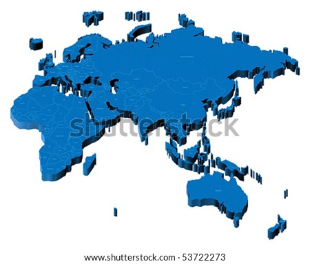 Map of Europe, Asia, Africa, Australia with national borders and country names. Pseudo-3d vector illustration. - stock vector