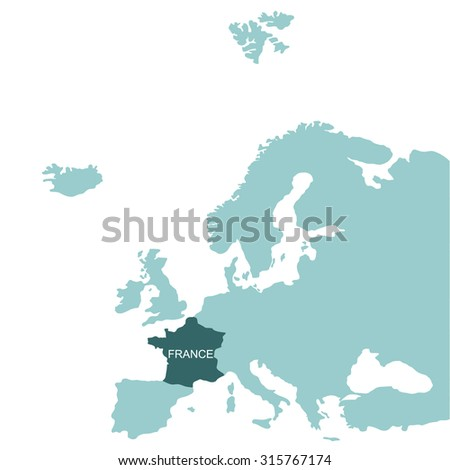 Map of Europe, France - stock vector