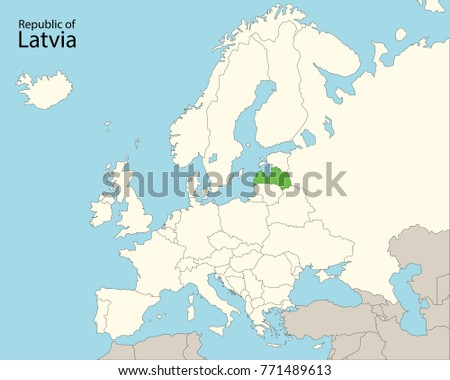 Map Europe Latvia Stock Vector 771489613 Shutterstock