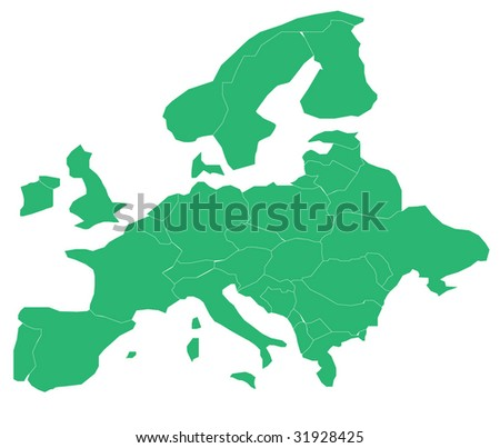 Map of Europe. Separable Borders. - stock vector