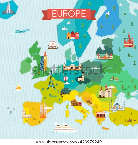 map of europe travel and tourism background vector flat illustration