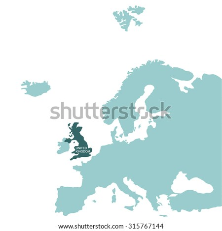 Map of Europe , United Kingdom - stock vector