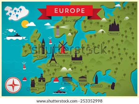 Map of Europe Vector Illustration - stock vector