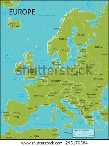 Map of Europe with all country names and capital cities. Colors and strokes easily changed. Vector layers: Keys, country names, capital city markers, capital city names, longitude latitude and more - stock vector