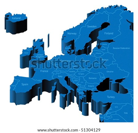 Map of Europe with national borders and country names. Pseudo-3d vector illustration. - stock vector