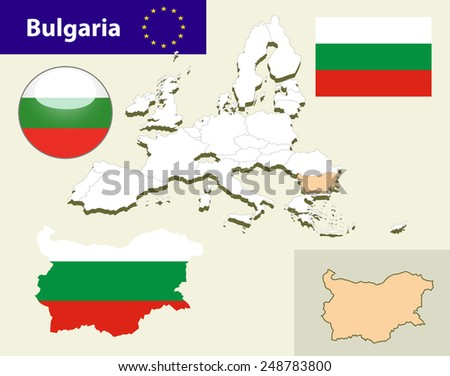 Map of European Union countries, with every state easy selectable and editable. Bulgaria.Vector - Bulgaria Flag Glossy Button - stock vector