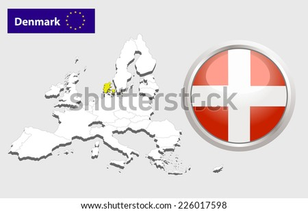Map of European Union countries, with every state easy selectable and editable. Denmark. Vector - Denmark Flag Glossy Button - stock vector