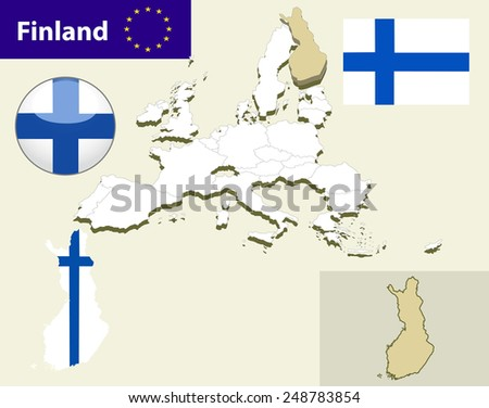 Map of European Union countries, with every state easy selectable and editable. Finland. Vector - Finland Flag Glossy Button - stock vector