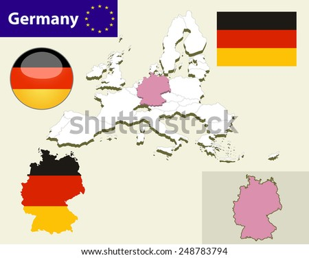 Map of European Union countries, with every state easy selectable and editable. Germany. Flag Glossy Button Germany. - stock vector