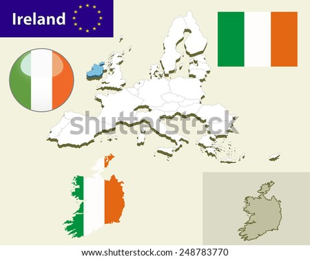 Map of European Union countries, with every state easy selectable and editable. Ireland.Vector - Ireland Flag Glossy Button - stock vector