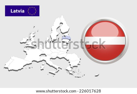 Map of European Union countries, with every state easy selectable and editable. Latvia. Vector - Latvia Flag Glossy Button  - stock vector