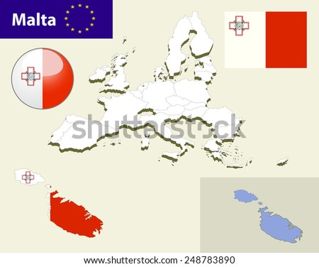 Map of European Union countries, with every state easy selectable and editable. Malta. Vector - Malta Flag Glossy Button - stock vector