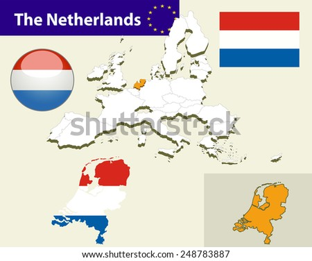 Map of European Union countries, with every state easy selectable and editable. Netherlands .Vector - Netherlands Flag Glossy Button