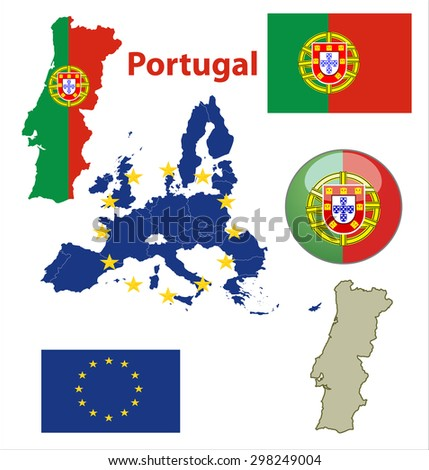 Map of European Union countries, with every state easy selectable and editable. Portugal. Vector - Portugal Flag Glossy Button - stock vector