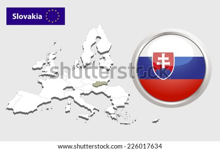 Map of European Union countries, with every state easy selectable and editable. Slovakia. Vector - Slovakia Flag Glossy Button - stock vector