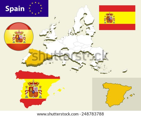 Map of European Union countries, with every state easy selectable and editable. Spain. Flag Glossy Button Spain. - stock vector
